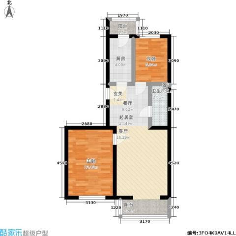 馨丽康城2室0厅1卫1厨72.00㎡户型图