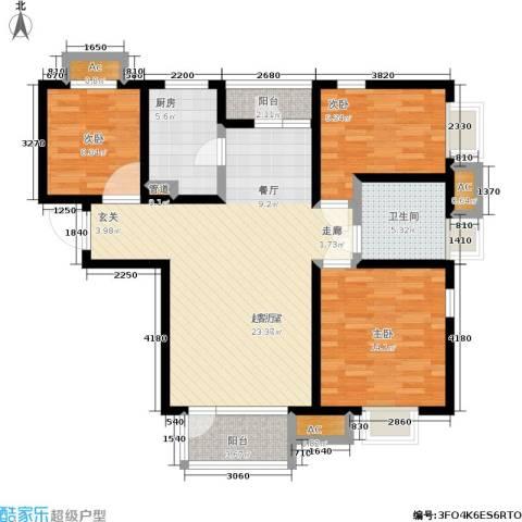 亿城左岸香颂3室0厅1卫1厨98.00㎡户型图