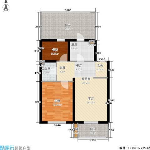 大学新城2室0厅1卫1厨70.22㎡户型图