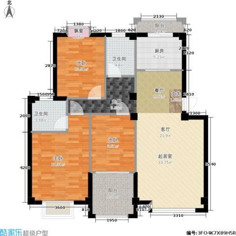 东方新城祥云苑、东方新城祥瑞苑3室0厅2卫1厨104.00㎡户型图