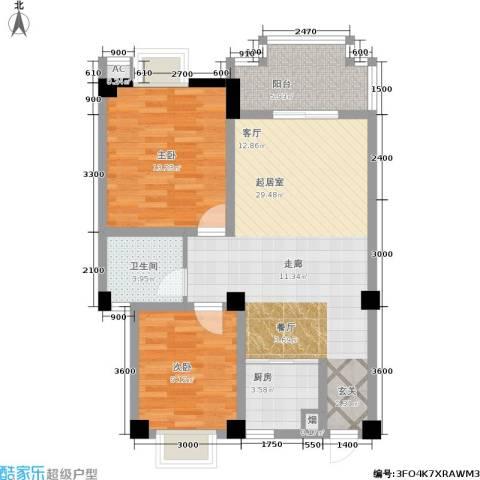 广场新天地2室0厅1卫1厨88.00㎡户型图