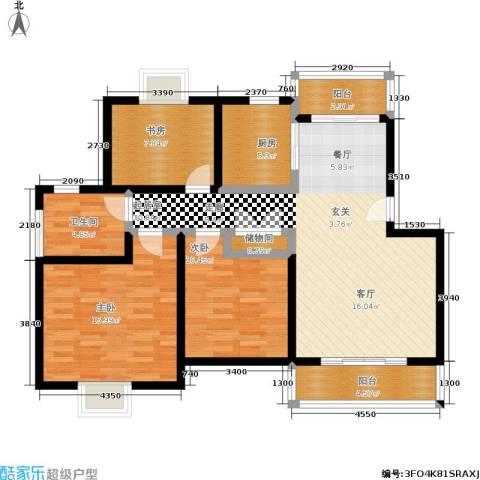 尊园3室0厅1卫1厨98.00㎡户型图