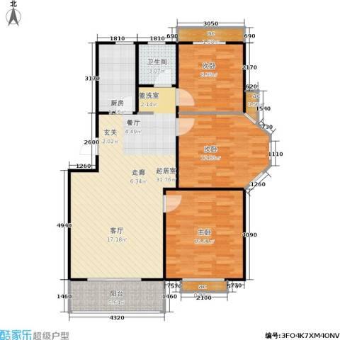 万汇秀林水苑3室0厅1卫1厨91.00㎡户型图
