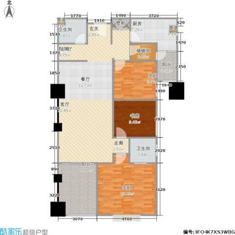 四达新时代广场3室1厅2卫1厨128.00㎡户型图