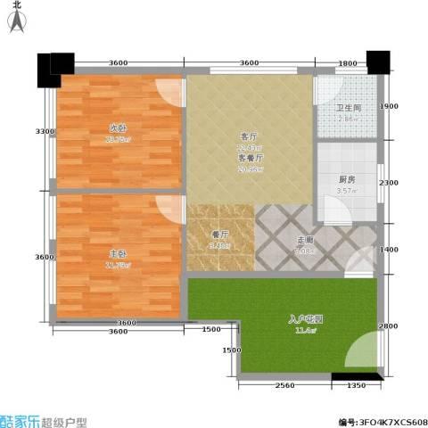 建鸿达现代空间 建鸿达巧克力空间2室1厅1卫1厨61.33㎡户型图