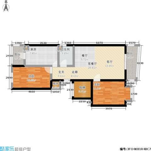 美晨家园2室1厅1卫1厨70.97㎡户型图