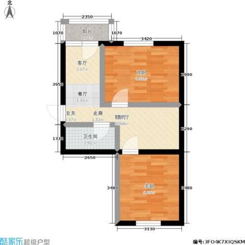 美晨家园2室1厅1卫0厨55.00㎡户型图