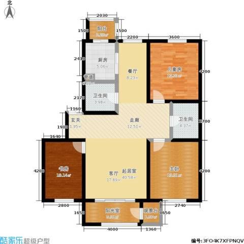 明华西江俪园3室0厅2卫1厨129.00㎡户型图