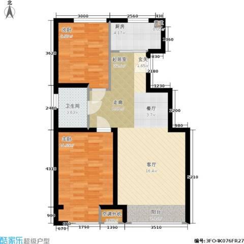 千缘・爱语城2室0厅1卫1厨88.00㎡户型图
