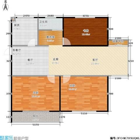 华夏名都3室1厅1卫1厨117.00㎡户型图