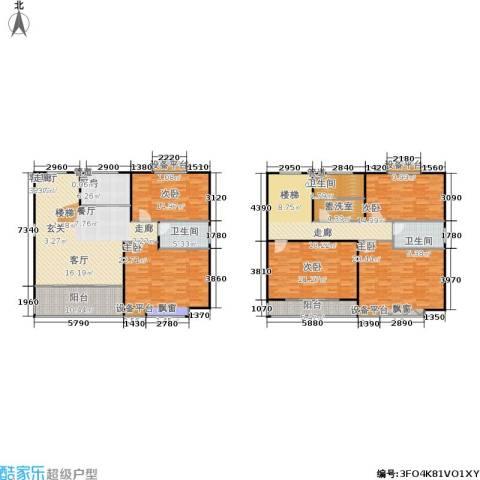 华夏名都5室1厅3卫1厨214.00㎡户型图
