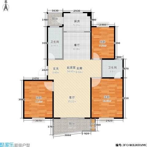 万汇秀林水苑3室0厅2卫1厨96.00㎡户型图