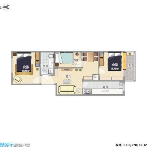 马南里小区3室1厅1卫1厨60.00㎡户型图
