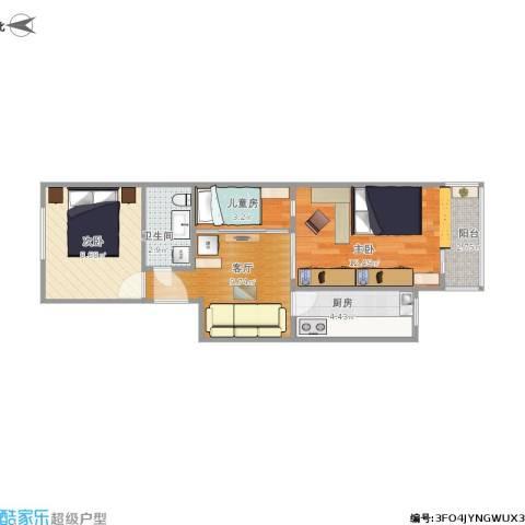 马南里小区3室1厅1卫1厨59.00㎡户型图