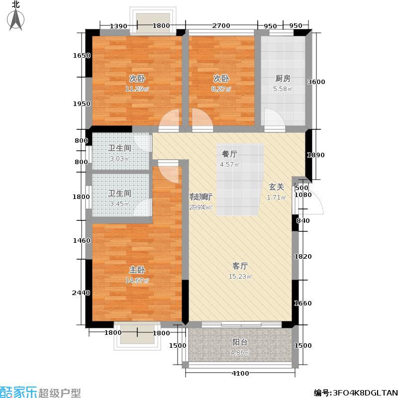 水墨林溪苑户型3室1厅2卫1厨