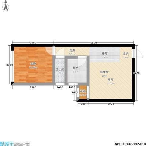 卫星・半岛花园1室1厅1卫1厨50.00㎡户型图