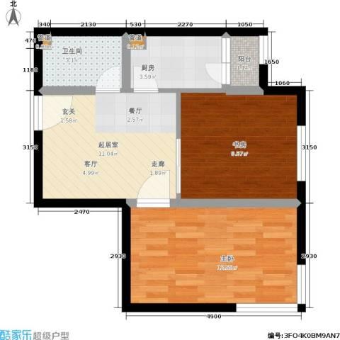 鑫丰又一城2室0厅1卫1厨60.00㎡户型图
