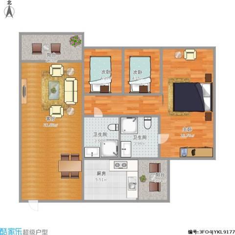 金华花园A区3室1厅2卫1厨94.00㎡户型图