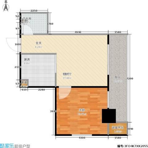 四达新时代广场1室1厅1卫1厨65.00㎡户型图
