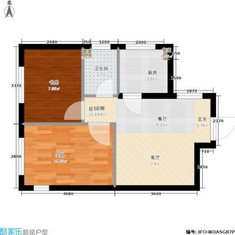 鑫丰又一城2室0厅1卫1厨58.00㎡户型图