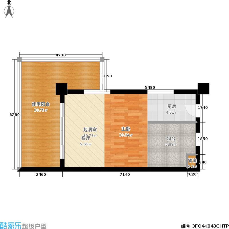 悦隆庄54.00㎡B平面图户型1室1厅1卫