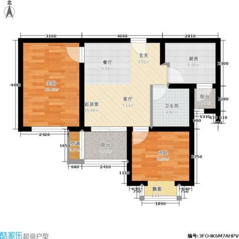 新梅淞南苑2室0厅1卫1厨60.00㎡户型图