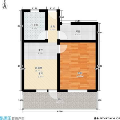 小沪春秋1室0厅1卫1厨48.96㎡户型图