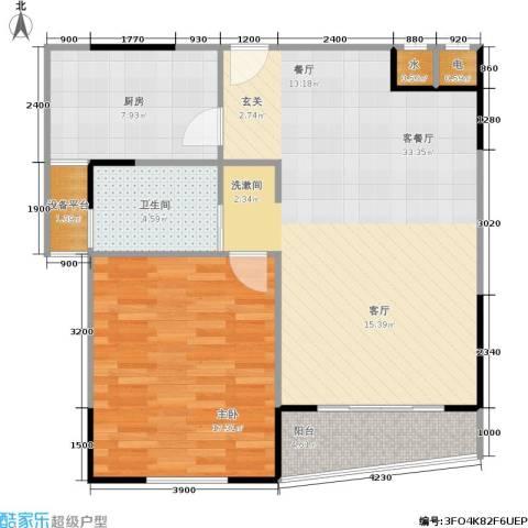 中茵皇冠国际1室1厅1卫1厨95.00㎡户型图