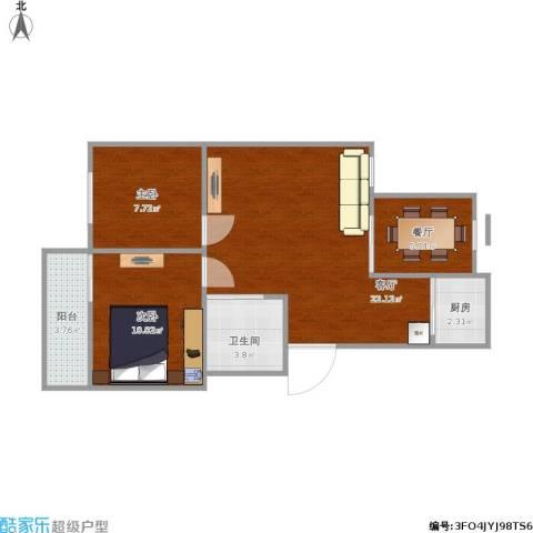 东裕新村2室2厅1卫1厨75.00㎡户型图