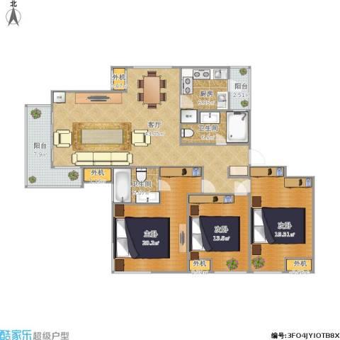 东湖大郡3室1厅2卫1厨172.00㎡户型图