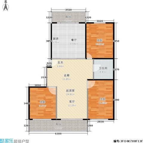 美丽人家3室1厅1卫0厨115.00㎡户型图