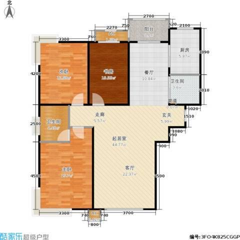 盛华苑3室0厅2卫1厨137.00㎡户型图