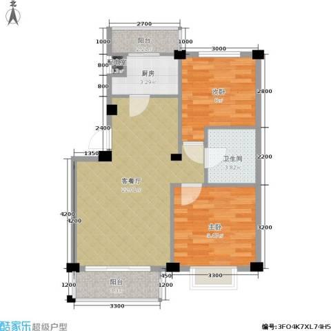 朗悦华园二期2室1厅1卫1厨77.00㎡户型图