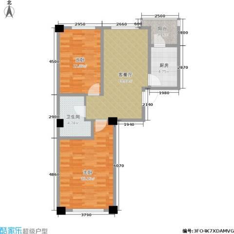 鹏辉新天居2室1厅1卫1厨87.00㎡户型图