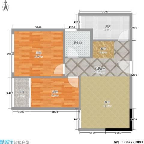 建鸿达现代空间 建鸿达巧克力空间2室1厅1卫1厨58.71㎡户型图
