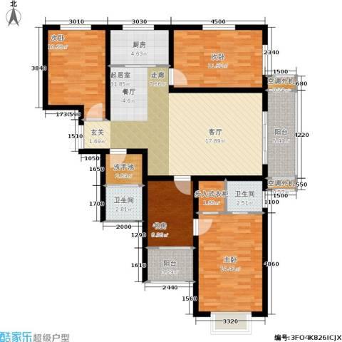 东湖湾4室0厅2卫1厨137.00㎡户型图