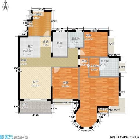 恒大绿洲3室0厅2卫1厨150.00㎡户型图