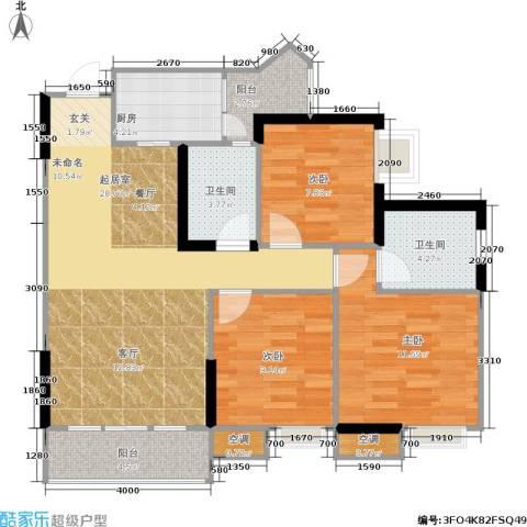 祺山・品阁3室0厅2卫1厨109.00㎡户型图
