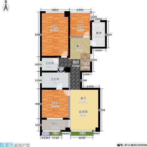 军城・港湾3室0厅2卫1厨124.00㎡户型图