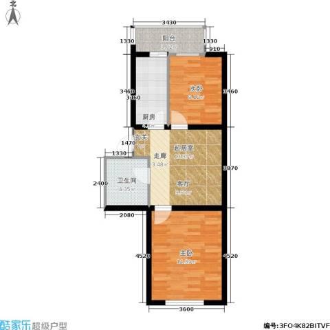 大学新城2室0厅1卫1厨60.00㎡户型图