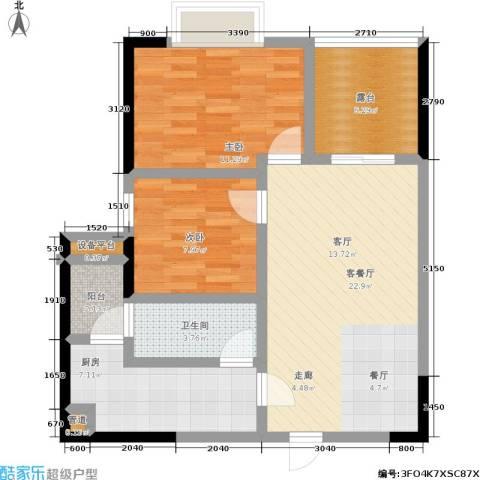 申奥美域 叠翠人家2室1厅1卫1厨91.00㎡户型图