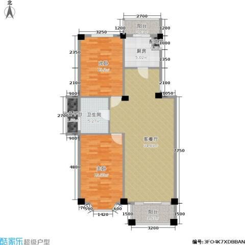 朗悦华园二期2室1厅1卫1厨83.06㎡户型图