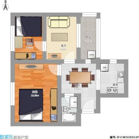东井村3号2室2厅1卫1厨58.00㎡户型图