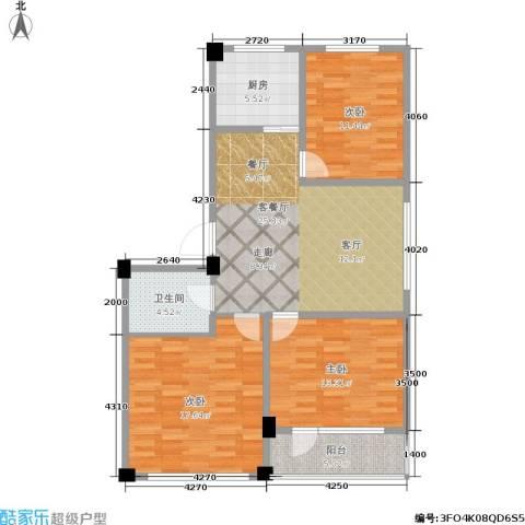 鹏辉新天居3室1厅1卫1厨95.00㎡户型图
