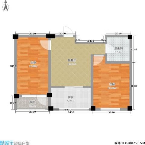 鹏辉新天居2室1厅1卫1厨55.00㎡户型图