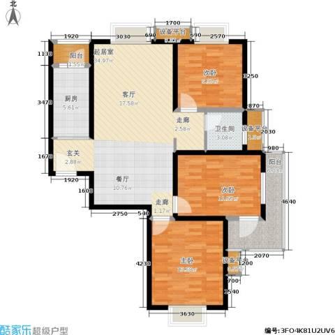 亚东国际公寓3室0厅1卫1厨120.00㎡户型图