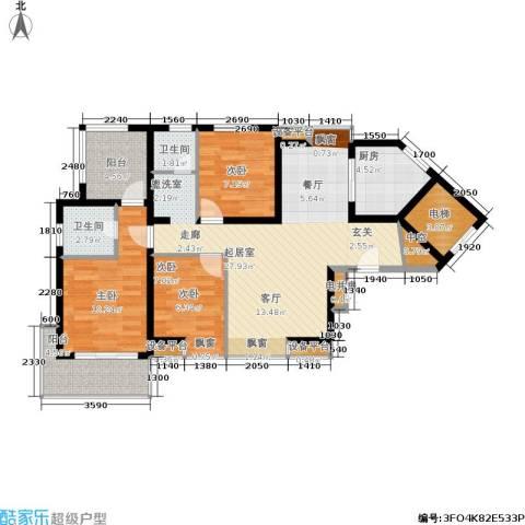 亚东国际公寓3室0厅2卫1厨89.00㎡户型图