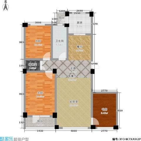 鹏辉新天居3室1厅1卫1厨126.00㎡户型图