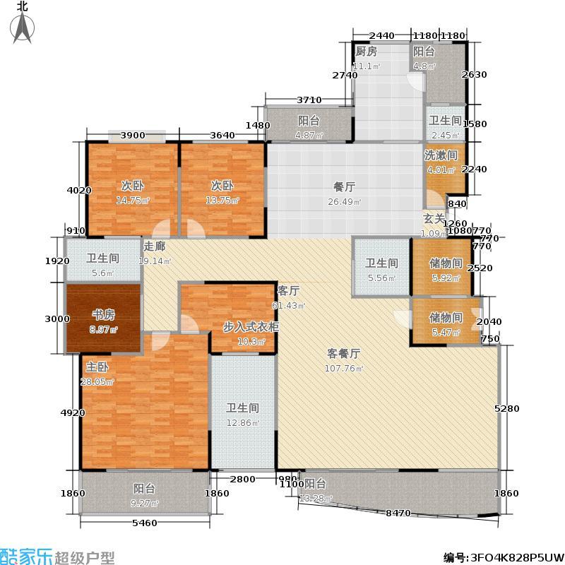 中茵皇冠国际户型4室1厅4卫1厨