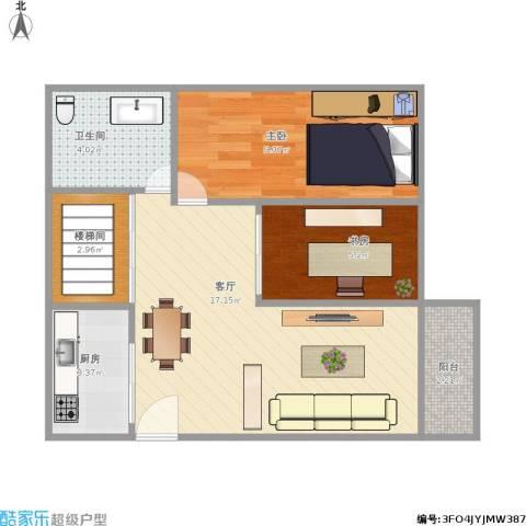 田德花园2室1厅1卫1厨60.00㎡户型图